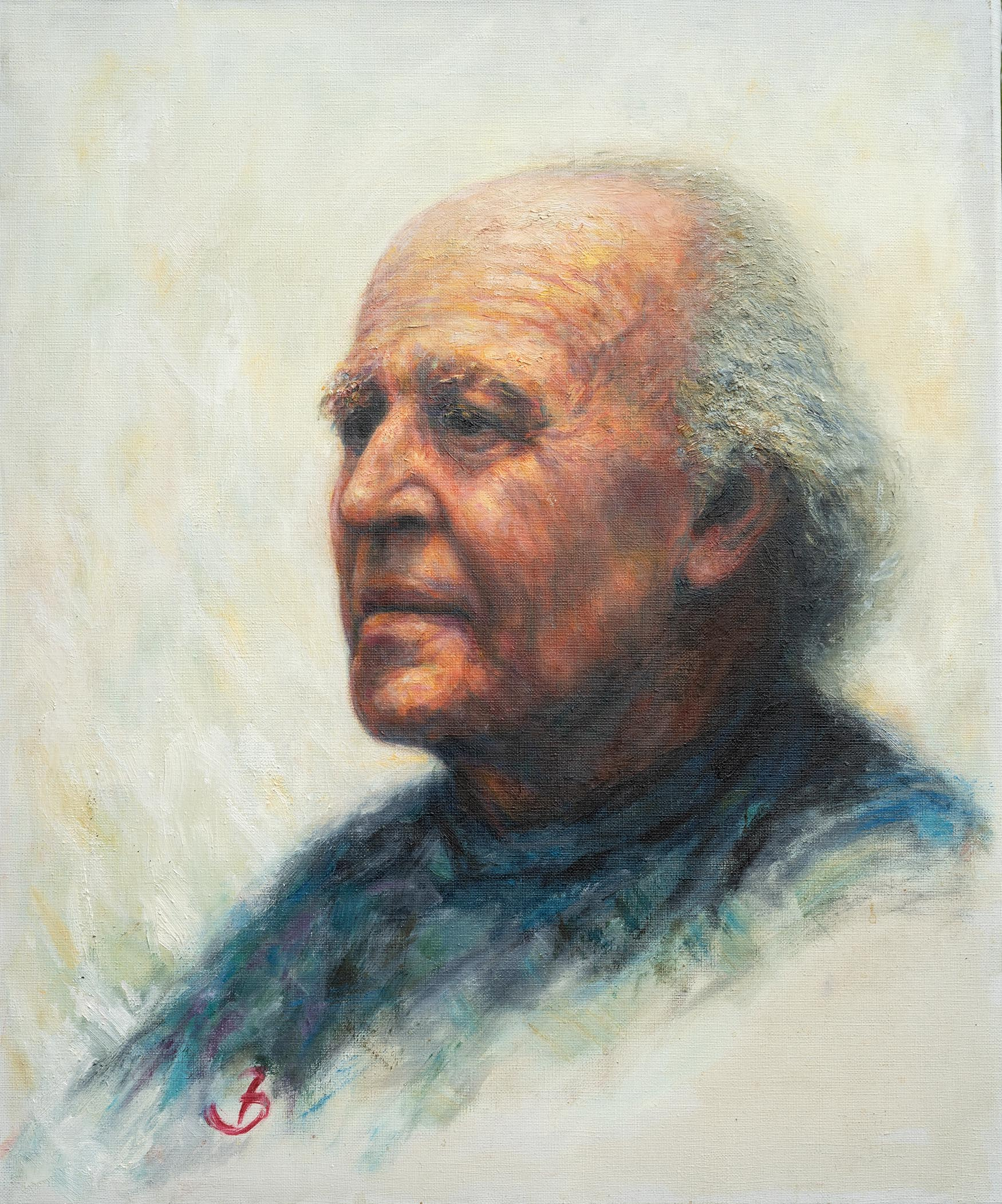 Oil painting of Ernest Bour by Jacob Bogaart, 1986.